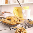 Freshly baked oatmeal raisin cookies - Stock Photo