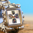 Wrist watch on wood - Stockfoto