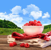 Bowl of raspberries on rustic table — Stock Photo