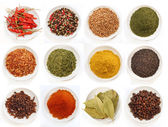 Variety of different spices in bowls — Stockfoto