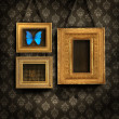 Three gilded frames on antique wallpaper — Stok Fotoğraf #3343992