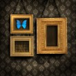 Stock Photo: Three gilded frames on antique wallpaper