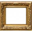 Old cracked gilded frame on white — Stok Fotoğraf #3344008