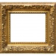 Old cracked gilded frame on white - Stock Photo