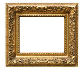 Old cracked gilded frame on white — Stok fotoğraf