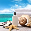Sunblock lotion and towels and ocean scene — Stok Fotoğraf #3357141