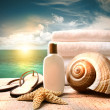 Sunblock lotion and towels and ocean scene - Stockfoto