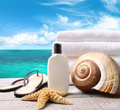 Sunblock lotion and towels and ocean scene — Stok fotoğraf