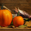 Stock Photo: Two pumpkins on the shelf