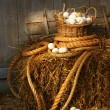 Basket of eggs on a bale of hay - Stock Photo