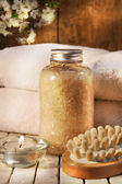 Beauty bath salts, candle and brush for bath — Stock Photo