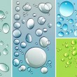 Multi-colored droplets with different colored backgrounds — Stock Photo