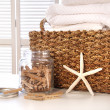 Stock Photo: Closeup of laundry basket with fine linens
