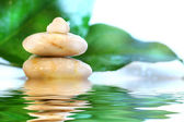 Spa stones with leaves — Stock Photo