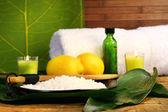 Sea salt,lemons and lemons — Stock Photo