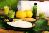 Sea salt, lemons and leaves spa — Stock Photo