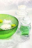 Green water bowl and sea salts — Stock Photo