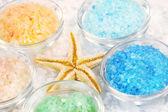 Five colors of bath salt — Stock Photo