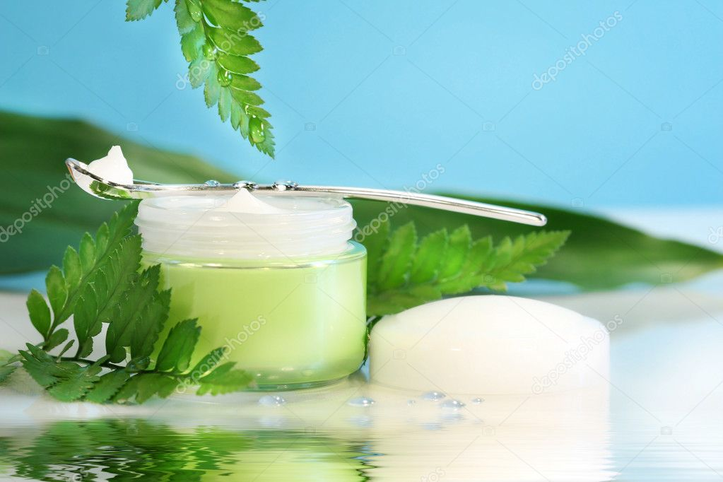 Rejuvenating face cream with ferns and water reflection — Stock Photo #3390029