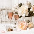 Two glasses filled with pink Champagne — Stock Photo #3402307