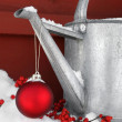 Red ornament on watering can - Stock Photo