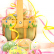 Stock Photo: Easter basket and eggs
