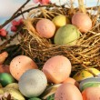 Easter eggs and apple blossoms — Stock Photo