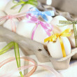 Stock Photo: Eggs with ribbons ready for Easter