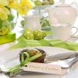 Place setting with place card set for easter - Stock Photo