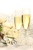 Champagne glasses ready for wedding festivities — Stock Photo