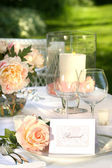 Place setting and card on a table — Stock Photo
