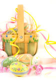 Easter basket and eggs — Stock Photo