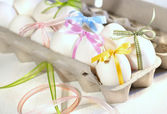 Eggs with ribbons ready for Easter — Stock Photo