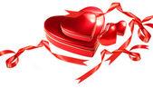 Valentijn harten met rode linten op wit — Stockfoto