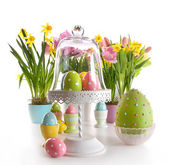 Easter eggs on cake stand with spring flowers — Stock Photo
