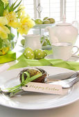 Place setting with place card set for easter — Photo