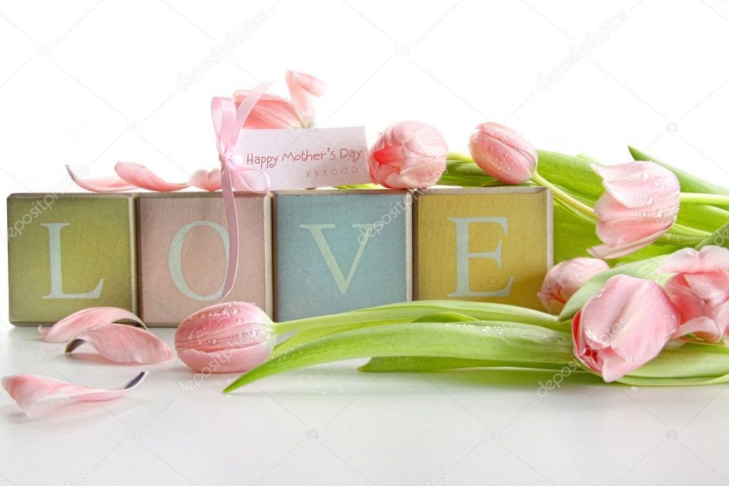 Colored blocks with tulips and gift card on white  Stock Photo #3403027