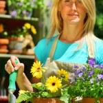 attraktive Frau Garten Arbeit — Stockfoto