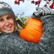 Gathering pumpkins - Stock Photo