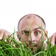 Man peering through tall grass - Stock Photo