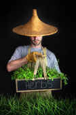 Man with Asian hat gardening — Stock Photo