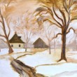 Winter oil painting on canvas — Stockfoto
