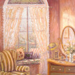 Stock Photo: Whimiscal oil painting of child's bedroom