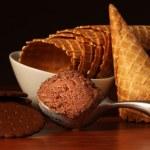 Scoop of rich chocolate ice cream — Stock Photo