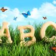 abc buchstaben im gras mit schmetterlingen — Stockfoto #3620957