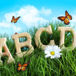 ABC letters with daisy in grass - Stock Photo