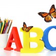 ABC letters with pencils on white — Stock Photo #3620968