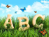 ABC letters in the grass with butterflies — Stock fotografie