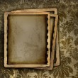 Vintage photo frame on floral background - Stock Photo
