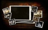 Scrap-booking background on dark wood — Stock Photo